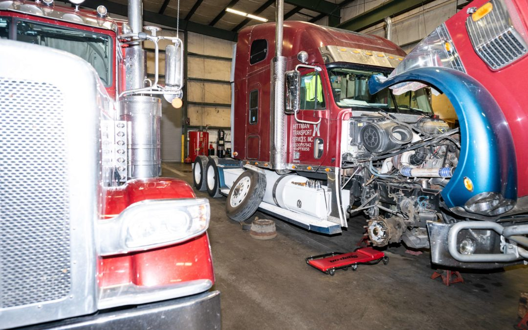 diesel truck in the shop getting looked over for transmission problems